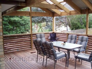 Pergola and Deck Constructed by Heath Landscaping Southern Tasmania.  Pergola, Paving and Sleeper Wall Heath Landscaping Southern Tasmania Pergolas Heath Landscaping