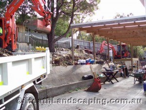Excavation & Retaining Wall Under House Constructed by Heath Landscaping Southern Tasmania.