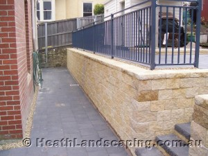 Timber Stairs, Retaining Wall and Driveway Constructed by Heath Landscaping Southern Tasmania Retaining Wall With Stairs and Paving Constructed by Heath Landscaping Southern Tasmania. Retaining Walls Heath Landscaping