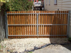 Pelawon Timber Gate With Metal Frame Constructed by Heath Landscaping Southern Tasmania.