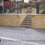 Paving With Retaining Walls Constructed by Heath Landscaping Tasmania.