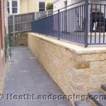 Retaining Wall, Driveway and Stairs Constructed by Heath Landscaping Southern Tasmania Retaining Wall With Stairs and Paving Constructed by Heath Landscaping Southern Tasmania. Retaining Walls Heath Landscaping
