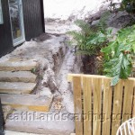 Block Wall with Box Footing and Paving Constructed by Heath Landscaping Southern Tasmania.