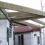 Pergola, Paving and Sleeper Wall Heath Landscaping Southern Tasmania