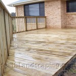 Timber Deck and Sleeper Wall Constructed by Heath Landscaping Southern Tasmania.